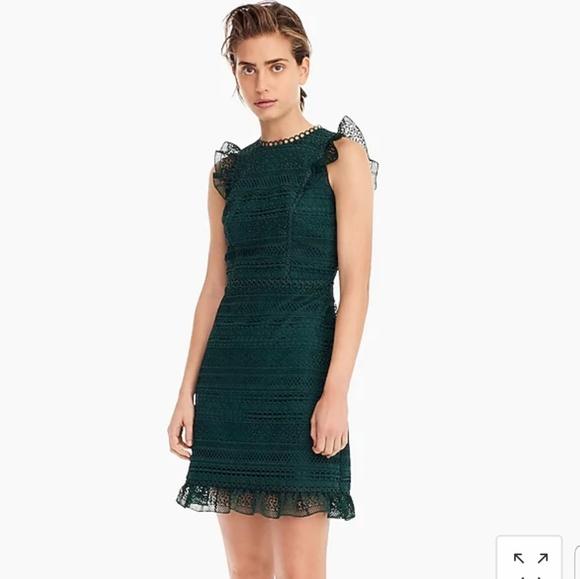 J Crew Cap Sleeve Ruffle Dress Dark Evergreen